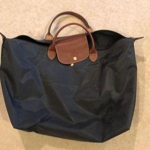 Large long champ navy blue overnight bag